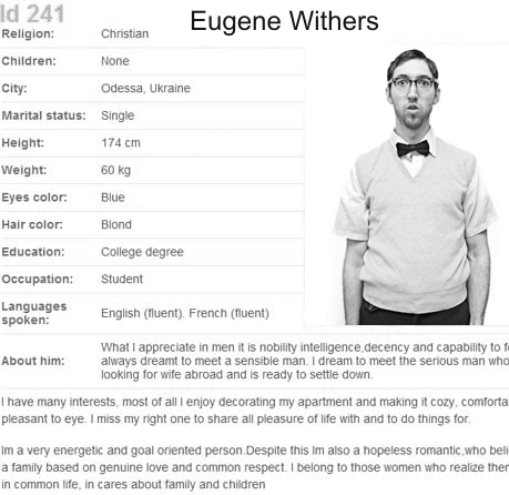 Dating site profile for a man