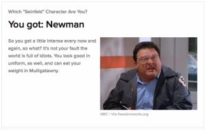 Buzzfeed Seinfeld quiz results