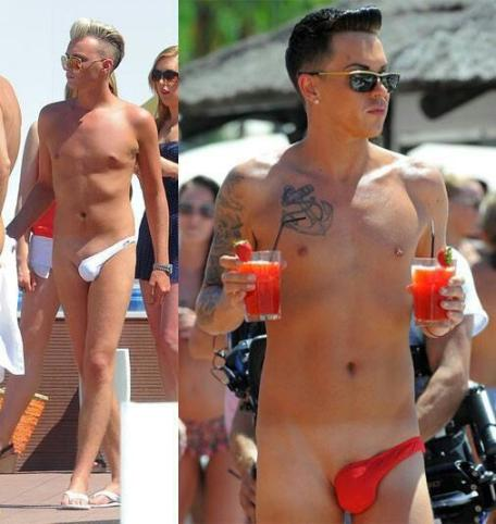 Bobby Norris and Harry Derbidge in man thongs
